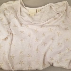 Cynthia Rowley starfish gold linen top nwot beach